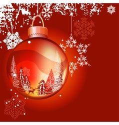 christmas background with ball and snowflakes vector image