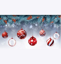 christmas decorations with blue fir branches vector image