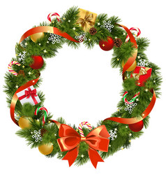 christmas pine wreath with red bow vector image