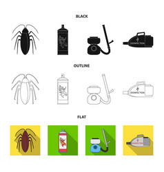 Cockroach and equipment for disinfection black vector