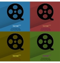 Color set Film Flat modern web button with long vector image