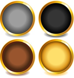 Colorful buttons with gold bevel-set3 vector image