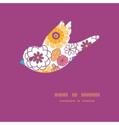 colorful oriental flowers bird silhouette vector image