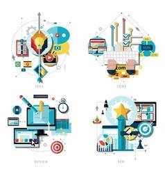 Creative Work Icons Set vector