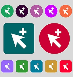 Cursor arrow plus add icon sign 12 colored buttons vector image