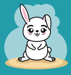 Cute and lovely bunny animal cartoon vector