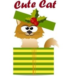 Cute cat in hat vector