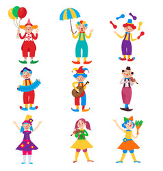 cute clown character design set vector image