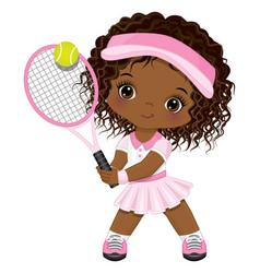 Cute little african american girl playing tennis vector
