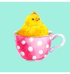 Cute yellow chick in a cup vector