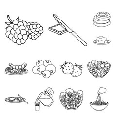 Dessert fragrant outline icons in set collection vector