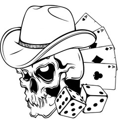 draw in black and white cowboy skull with poker vector image