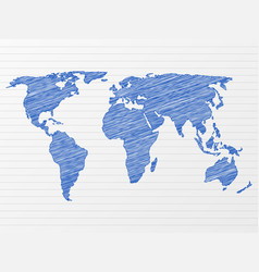 Drawing world map vector