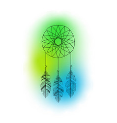 Dreamcatcher with feathers and colorful vector