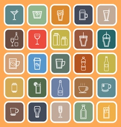 Drink line flat icons on orange background vector