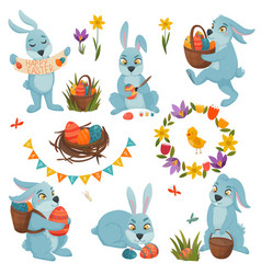 easter decorations big set vector image