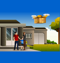 family expecting a drone package delivery vector image