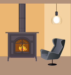 Fireplace in room home interior house atmosphere vector