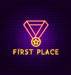 first place neon label vector image