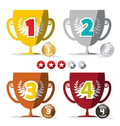 Flat Design Winning Cups and Medals Set with Star vector