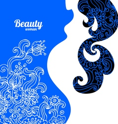 Floral background with pregnant woman silhouette vector