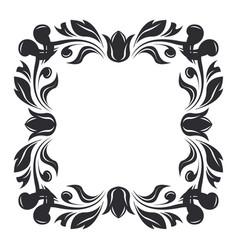 floral decoration ornamental square frame vector image