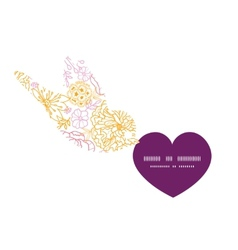 Flowers outlined birds holding heart vector
