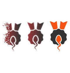 Fragmented pixel halftone sperm winner icon vector