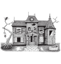 Ghost house hand drawing vintage style isolate on vector