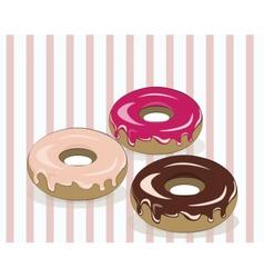Glazed donuts on vintage background vector