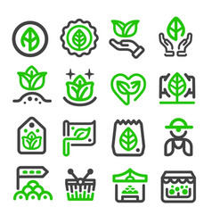 green marketorganic market icon vector image