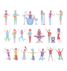 group people celebrating with instruments vector image