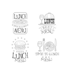hand drawn emblems for cafe or restaurant vector image