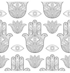 Hand of fatima seamless pattern vector