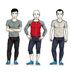 Handsome young men group standing wearing stylish vector