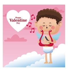 Happy valentine day cupid sing music harp note vector