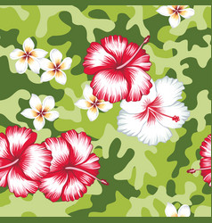 hibiscus flowers camo background seamless vector image
