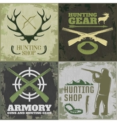 Hunting Square Icon Set vector