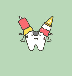 ice cream on teeth - caries or decay tooth concept vector image