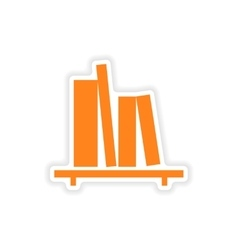 Icon sticker realistic design on paper bookshelf vector