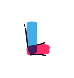 L letter logo handwritten with a multicolor vector