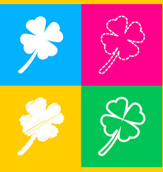 Leaf clover sign four styles of icon on four vector