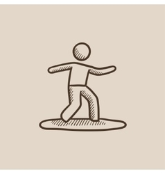 Male surfer riding on surfboard sketch icon vector image