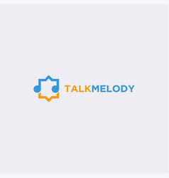 melody and chat bubble talk logo icon template vector image