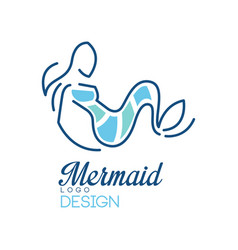 mermaid logo design element for badge invitation vector image