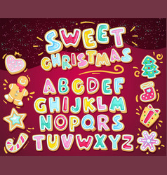Merry christmas sweet font vector