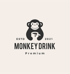 monkey mug drink coffee hipster vintage logo icon vector image