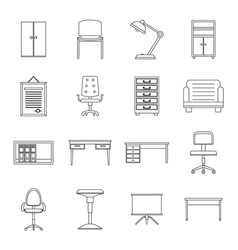 office furniture icons set outline style vector image