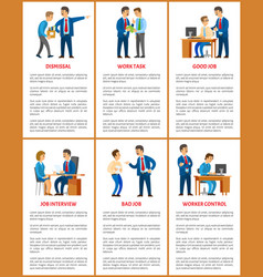 Office work boss and employees relationships vector
