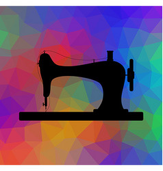 Old sewing machine on triangular background with vector
